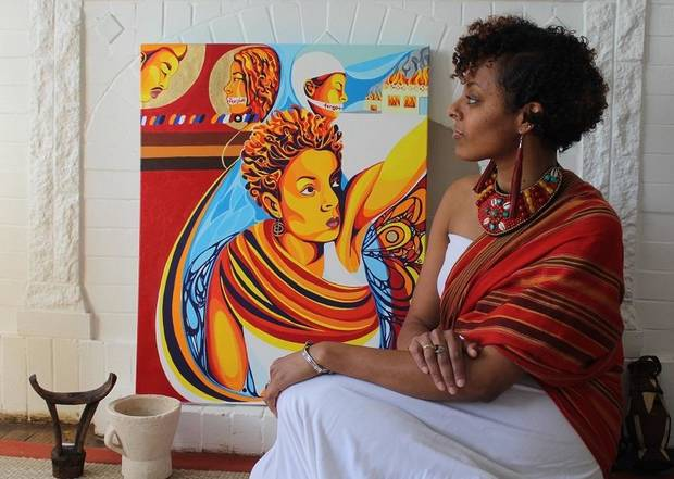 Interview and images: OKC artist Ebony Iman Dallas traces her father's history back to Africa with exhibit 'Through Abahay's Eyes'